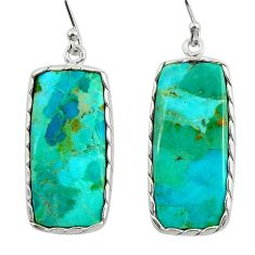 15.93cts green arizona mohave turquoise 925 silver dangle earrings r29289