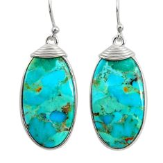 14.73cts green arizona mohave turquoise 925 silver dangle earrings r29291