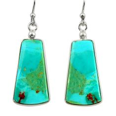 13.13cts green arizona mohave turquoise 925 silver dangle earrings r29292