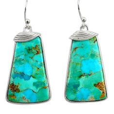 16.88cts green arizona mohave turquoise 925 silver dangle earrings r29298