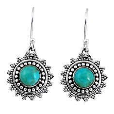 2.33cts green arizona mohave turquoise 925 silver dangle earrings r55227