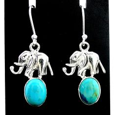 5.15cts green arizona mohave turquoise 925 silver elephant earrings t37327
