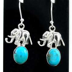 5.53cts green arizona mohave turquoise 925 silver elephant earrings t37335