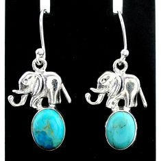5.54cts green arizona mohave turquoise 925 silver elephant earrings t37345