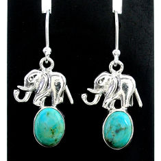 5.54cts green arizona mohave turquoise 925 silver elephant earrings t37358