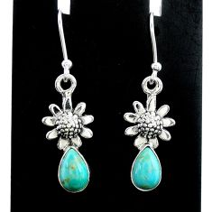 3.37cts green arizona mohave turquoise 925 silver flower earrings jewelry t37329