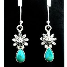 3.24cts green arizona mohave turquoise 925 silver flower earrings t37321