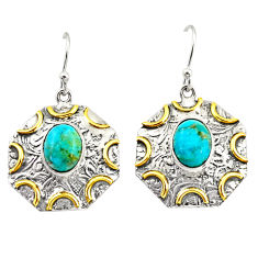 6.36cts green arizona mohave turquoise 925 silver gold dangle earrings r37188