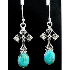 5.81cts green arizona mohave turquoise 925 silver holy cross earrings t37356