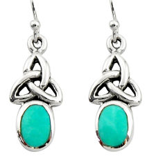 3.13cts green arizona mohave turquoise 925 sterling silver earrings c9941