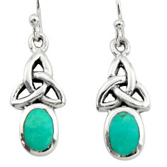 3.83cts green arizona mohave turquoise 925 sterling silver earrings c9942