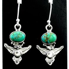 4.04cts green arizona mohave turquoise 925 sterling silver owl earrings t37359