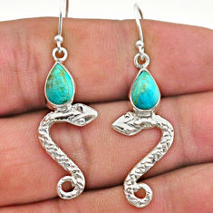 3.84cts green arizona mohave turquoise 925 sterling silver snake earrings t40275