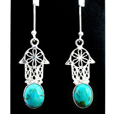 5.22cts green arizona mohave turquoise silver hand of god hamsa earrings t37324