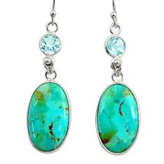 14.73cts green arizona mohave turquoise topaz 925 silver dangle earrings r29286