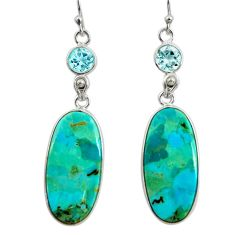 18.14cts green arizona mohave turquoise topaz 925 silver dangle earrings r29297