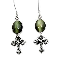 Clearance Sale- 8.31cts green cat's eye 925 sterling silver cross earrings jewelry d40473
