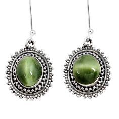Clearance Sale- 7.51cts green cats eye 925 sterling silver dangle earrings jewelry d40420
