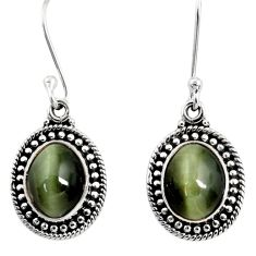 8.05cts green cats eye 925 sterling silver earrings jewelry d40479