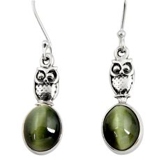 Clearance Sale- 7.97cts green cat's eye 925 sterling silver owl earrings jewelry d40472