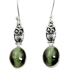 Clearance Sale- 6.85cts green cat's eye 925 sterling silver owl earrings jewelry d40476