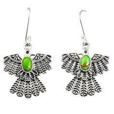 Clearance Sale- 2.20cts green copper turquoise 925 silver dangle eagle charm earrings d40397