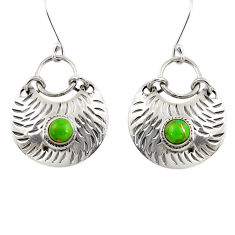 Clearance Sale- 1.58cts green copper turquoise 925 sterling silver dangle earrings d39750