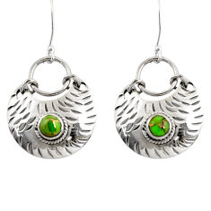 Clearance Sale- 1.69cts green copper turquoise 925 sterling silver dangle earrings d39754