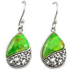 Green copper turquoise 925 sterling silver dangle earrings jewelry c23027