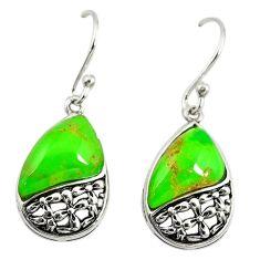 Green copper turquoise 925 sterling silver dangle earrings jewelry c23035