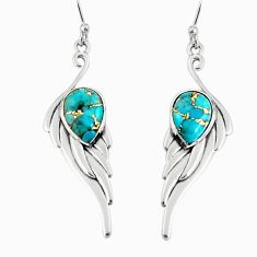 5.18cts green copper turquoise 925 sterling silver dangle earrings r19781
