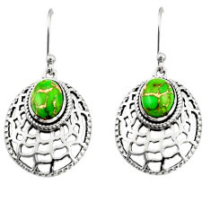 4.38cts green copper turquoise 925 sterling silver dangle earrings r19806
