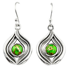 4.71cts green copper turquoise 925 sterling silver dangle earrings r19809