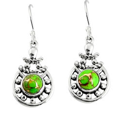 2.53cts green copper turquoise 925 sterling silver dangle earrings r19831