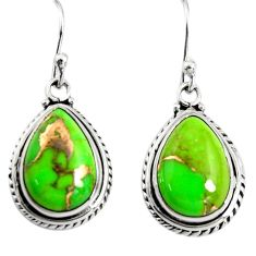 9.99cts green copper turquoise 925 sterling silver dangle earrings r25021
