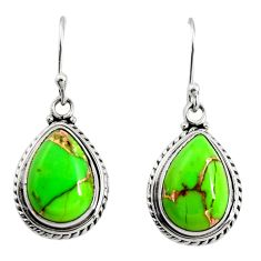 10.41cts green copper turquoise 925 sterling silver dangle earrings r25022