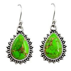 10.37cts green copper turquoise 925 sterling silver dangle earrings r26545