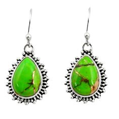 10.43cts green copper turquoise 925 sterling silver dangle earrings r26546