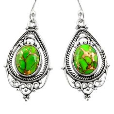 7.97cts green copper turquoise 925 sterling silver dangle earrings r30837