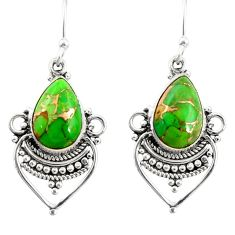 8.79cts green copper turquoise 925 sterling silver dangle earrings r30890