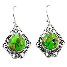 8.26cts green copper turquoise 925 sterling silver dangle earrings r30941