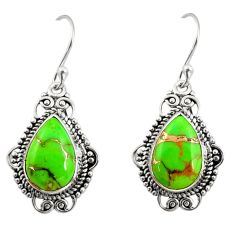 8.24cts green copper turquoise 925 sterling silver dangle earrings r30949