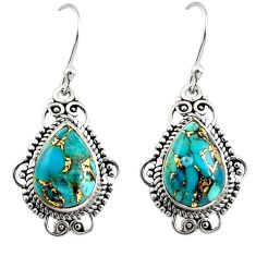9.18cts green copper turquoise 925 sterling silver dangle earrings r30950