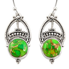 7.97cts green copper turquoise 925 sterling silver dangle earrings r31021