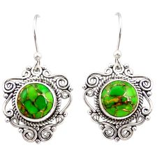 7.62cts green copper turquoise 925 sterling silver dangle earrings r31059