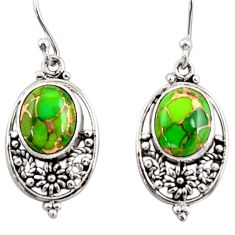 7.25cts green copper turquoise 925 sterling silver dangle earrings r31067