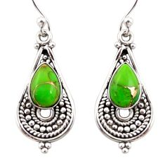 4.37cts green copper turquoise 925 sterling silver dangle earrings r31288