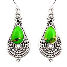 4.18cts green copper turquoise 925 sterling silver dangle earrings r31294