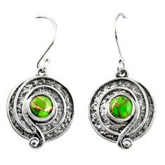 2.47cts green copper turquoise 925 sterling silver dangle earrings r35151