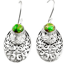 2.56cts green copper turquoise 925 sterling silver dangle earrings r36586